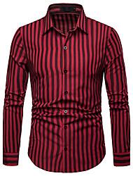 Недорогие -Муж. С принтом Рубашка Деловые / Классический Полоски / Контрастных цветов