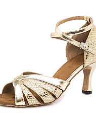 Недорогие -Жен. Обувь для латины Полиуретан На каблуках / Кроссовки Тонкий высокий каблук Персонализируемая Танцевальная обувь Золотой / Темно-серый