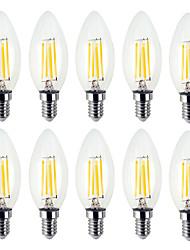 Недорогие -YWXLIGHT® 10 шт. 4 W 300-400 lm E12 LED лампы в форме свечи / LED лампы накаливания C35 4 Светодиодные бусины SMD Творчество Тёплый белый / Холодный белый 110-130 V