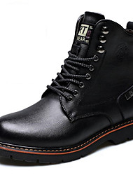 cheap -Men's Combat Boots Leather Winter Boots Booties / Ankle Boots Black / Brown