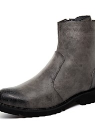cheap -Men's Comfort Shoes PU(Polyurethane) Winter Boots Booties / Ankle Boots Black / Gray / Brown