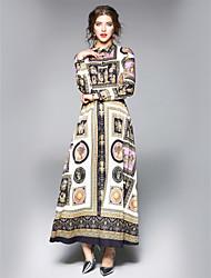 Недорогие -Жен. На выход / Офис Уличный стиль А-силуэт Платье - Цветочный принт Рубашечный воротник Макси / Средней длины
