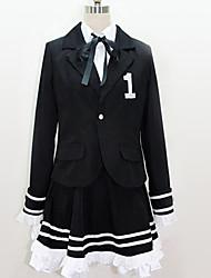 baratos -Inspirado por Vocaloid Fantasias Anime Fantasias de Cosplay Ternos de Cosplay Formais / Preto e Branco Peitilho / Blusa / Saia Para Homens / Mulheres