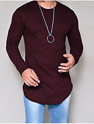 Недорогие -Мужская футболка большого размера - сплошной цвет вокруг шеи
