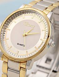 Недорогие -Муж. Для пары Спортивные часы Наручные часы золотые часы Кварцевый Кожа Серебристый металл / Коричневый Повседневные часы Аналоговый На каждый день Мода -