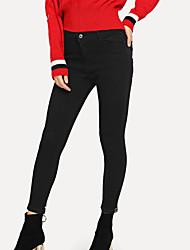 Недорогие -женские хлопчатобумажные джинсовые брюки - сплошной цвет с высокой талией светло-синий 25