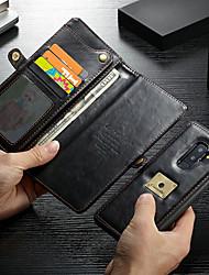 Недорогие -CaseMe Кейс для Назначение SSamsung Galaxy S9 Plus Кошелек / Бумажник для карт / Защита от удара Чехол Однотонный Твердый Кожа PU для S9 Plus