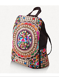 Недорогие -Жен. Мешки холст рюкзак Молнии Цвет радуги