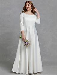 baratos -Linha A Decote Quadrado Longo Cetim Vestidos de casamento feitos à medida com de LAN TING BRIDE®