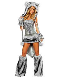 Недорогие -Кошка Волк-женщины Костюм Санта-одежда Жен. Взрослые Хэллоуин Рождество Рождество Хэллоуин Карнавал Фестиваль / праздник Терилен Полиэстер Инвентарь Серый Однотонный