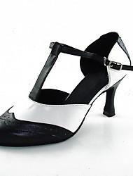 baratos -Mulheres Sapatos de Dança Moderna Couro Salto / Têni Recortes Salto Alto Magro Personalizável Sapatos de Dança Preto / Branco
