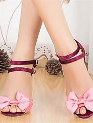 Недорогие -Жен. Обувь для латины Замша На каблуках Цветы Тонкий высокий каблук Персонализируемая Танцевальная обувь Розовый