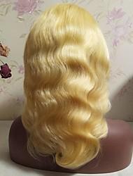 Недорогие -Не подвергавшиеся окрашиванию человеческие волосы Remy Лента спереди Парик Стрижка каскад Средняя часть Боковая часть Beyonce стиль Бразильские волосы Естественные кудри Блондинка Парик 130