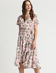 b92f490b24 Women s Daily Weekend Basic Slim A Line Dress V Neck Spring Pink XL XXL XXXL