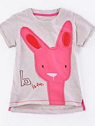 お買い得  -幼児 女の子 ベーシック ソリッド 半袖 ポリエステル Tシャツ グレー