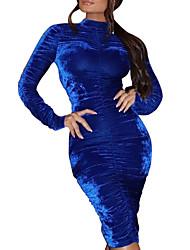 baratos -Mulheres Sensual Veludo Calças Azul / Festa / Gola Redonda