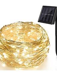 Недорогие -Светодиодная лампа 10 м. 100 светодиодов 1set монтажная скоба теплая солнечная солнечная декоративная солнечная рождественская свадьба новый год