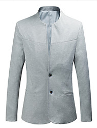 abordables -Homme Quotidien Basique Normal Blazer, Couleur Pleine Col en V Manches Longues Coton / Polyester Noir / Marine / Gris XXXL / XXXXL / XXXXXL