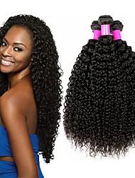 Недорогие -4 Связки Бразильские волосы Kinky Curly Не подвергавшиеся окрашиванию Человека ткет Волосы Пучок волос One Pack Solution 8-28 дюймовый Естественный цвет Ткет человеческих волос