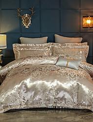 baratos -conjuntos de capa de edredão de seda de luxo / mistura de algodão impressão reativa 4 conjuntos de cama de cama rainha