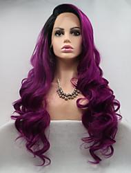 Недорогие -Синтетические кружевные передние парики Жен. Кудрявый Фиолетовый Стрижка каскад 130% Человека Плотность волос Искусственные волосы 24 дюймовый Женский Фиолетовый Парик Длинные Лента спереди