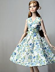 Недорогие -Платье куклы Платья Для Barbie Цветочный принт Цветы Цветочные ботанический Синий Ткань Хлопковая ткань Нетканый материал Платье Для Девичий игрушки куклы