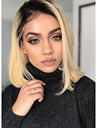 cheap -Virgin Human Hair Lace Front Wig Bob Emma style Brazilian Hair Silky Straight Blonde Wig 150% Density Heat Resistant Cool with Clip Glueless Blonde Women's Medium Length Human Hair Lace Wig WoWEbony