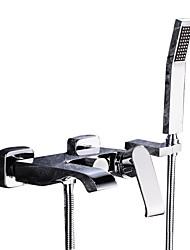 Недорогие -Смеситель для ванны - Современный Хром На стену Керамический клапан Bath Shower Mixer Taps / Две ручки три отверстия