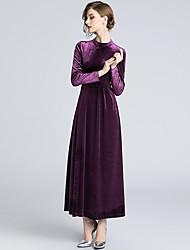 Недорогие -платье для женщин макси слим свинг с высокой талией глубокий v фиолетовый s m l xl