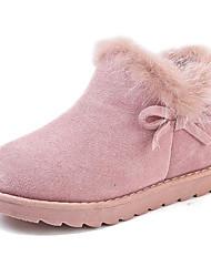 Недорогие -Девочки Обувь Кожа Зима Модная обувь Ботинки Бант для Дети Черный / Розовый / Верблюжий