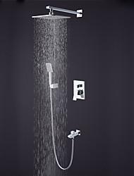 Недорогие -Смеситель для душа - Современный / Высокое качество Хром На стену Керамический клапан Bath Shower Mixer Taps / Латунь