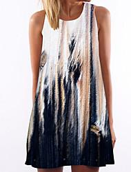 abordables -Femme Mi-long Courte Robe Fleur / Teinture par Nouage Blanc L XL XXL Sans Manches / Plage