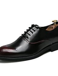 お買い得  -男性用 革靴 PUレザー 秋冬 ブリティッシュ オックスフォードシューズ 証明書を着用する ブラック / レッド