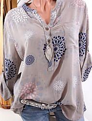Недорогие -Жен. Рубашка Тонкие Классический Геометрический принт / Графические принты / V-образный вырез