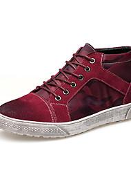 זול -בגדי ריקוד גברים נעלי נוחות עור חורף נעלי ספורט שחור / אדום
