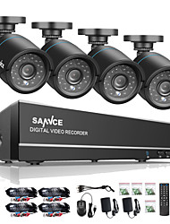 cheap -SANNCE® 8CH 4 in 1 720P HDMI AHD CCTV DVR 4PCS 1.0 MP IR Outdoor Security Camera Surveillance System Built-in 1TB HDD