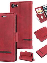 Недорогие -Кейс для Назначение Apple iPhone 8 Кошелек / Бумажник для карт / Флип Кейс на заднюю панель Однотонный Твердый Кожа PU