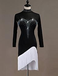 baratos -Dança Latina Vestidos Mulheres Espetáculo Elastano Mocassim / Cristal / Strass Manga Longa Vestido