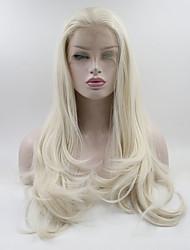 abordables -Perruque Lace Front Synthétique Bouclé Style Partie libre Lace Frontale Perruque Blanc Blanc crème Cheveux Synthétiques 18-26 pouce Femme Ajustable / Dentelle / Résistant à la chaleur Blanc Perruque