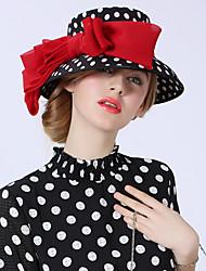 Недорогие -Elizabeth Чудесная миссис Мейзел Фетровые шляпы Кентукки шляпа дерби шляпа Дамы Винтаж 1950-е года Жен. Черно-белый Горошек Бант Конструкция САР Шифон костюмы