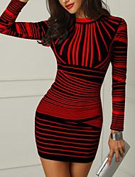 abordables -Femme Soirée Basique Au dessus du genou Mince Moulante Robe Géométrique / Rayure Col Ras du Cou Blanc Rouge Jaune M L XL Manches Longues