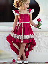 4d5e7a01 Kids Girls' Street chic Party Solid Colored Lace Sleeveless Asymmetrical  Polyester Dress Red