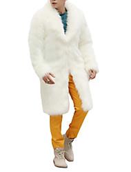 Недорогие -Муж. выходные Зима Длинная Пальто, Однотонный Воротник шалевого типа Длинный рукав Искусственный мех Белый / Черный / Коричневый XL / XXL / XXXL / Свободный силуэт