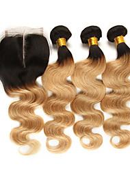 Недорогие -3 комплекта с закрытием Бразильские волосы Естественные кудри человеческие волосы Remy Накладки из натуральных волос Волосы Уток с закрытием 10-24 дюймовый Ткет человеческих волос
