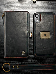 Недорогие -CaseMe Кейс для Назначение Apple iPhone XR Кошелек / Бумажник для карт / Флип Чехол Однотонный Твердый Кожа PU для iPhone XR
