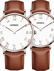 Недорогие -Kopeck Для пары Наручные часы электронные часы Японский Японский кварц согласование Его и ее Натуральная кожа Черный / Коричневый / Шоколадный 30 m Защита от влаги Повседневные часы Аналоговый