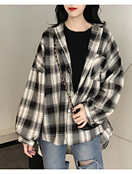 olcso -női ázsiai méretű laza ing - színes blokk / geometriai ing gallér