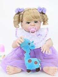baratos -Bonecas Reborn Bebês Meninas 22 polegada Silicone Vinil - realista Confeccionada à Mão Fofo Segura Para Crianças Crianças / Adolescente Non Toxic de Criança Unisexo Brinquedos Dom