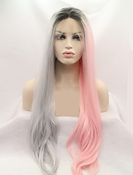 お買い得  -合成レースフロントウィッグ 女性用 ルーズカール ピンク レイヤード・ヘアカット 130% 人間の毛髪密度 合成 24 インチ 女性 ピンク / グレイ かつら ロング フロントレース ピンク / グレー Sylvia