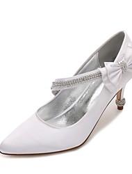 hesapli -Kadın's Ayakkabı Saten İlkbahar yaz Tatlı Düğün Ayakkabıları Stiletto Topuk Sivri Uçlu Düğün / Parti ve Gece için Fiyonk / Işıltılı Pullar / Toka Mavi / Açık Kahverengi / Kristal
